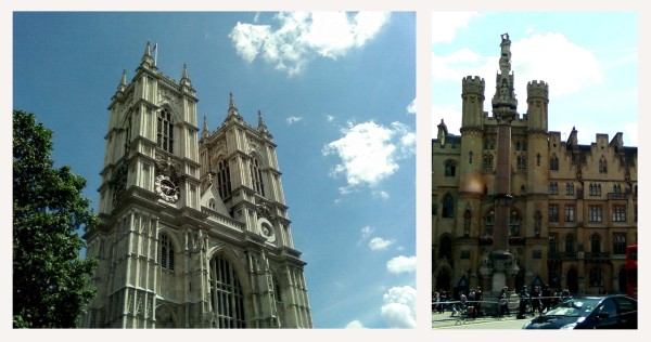 westminster abbey and an interesting building next to it...